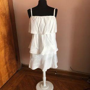 J Crew white linen tiered sun dress